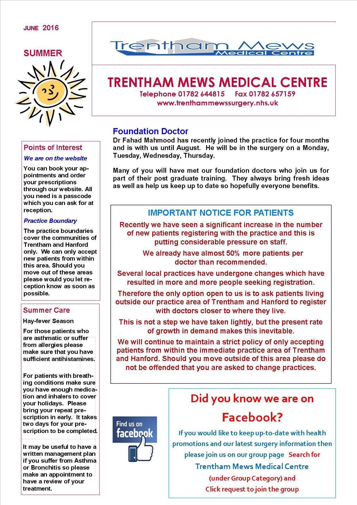 newsletter summer july 2016 trentham mews medical centre